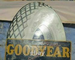 1920's Old Vintage Rare Goodyear Tire Ad Porcelain Enamel Sign Board Collectible