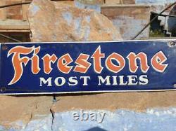 1930's Old Vintage Rare Miniature Firestone Tire Ad Porcelain Enamel Sign Board