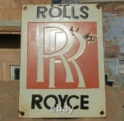 1930's Old Vintage Rare Rolls Royce Adv. Embossed Porcelain Enamel Sign Board
