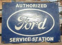 1930's Vintage Old Rare Ford Service Porcelain Enamel Sign Board, Collectible