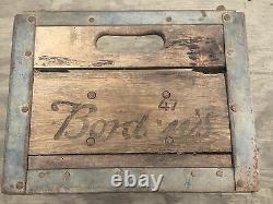 Antique/vintage Borden Milk Crate 47 Wood & Metal With 12 Quart Bottles Rare