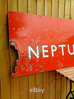 British Neptune Street Hull Vintage Original Enamel Sign Half of Station RARE