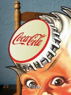 COCA COLA SPRITE BOY Vintage Old Style Bottling Plant Custom Cut Rare Sign