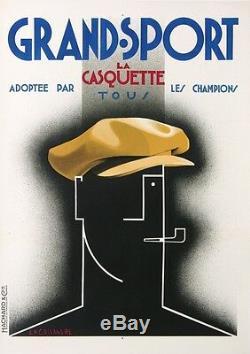Cassandre Casquette Grand Sport Clothes Very Rare Vintage Poster 1924
