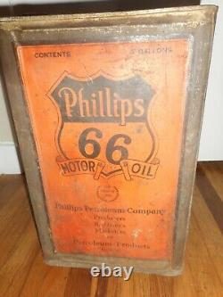 EARLY RARE Vintage PHILLIPS 66 5 GALLON MOTOR OIL ADVERTISING GAS STATION CAN