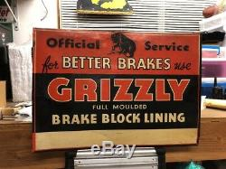 Early Grizzly Brakes Tin Not Porcelain Sign Original Block Lining Vintage Rare