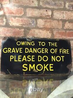 Enamel Sign Do Not Smoke Original Old Rare Advertising Antique Quirky Vintage