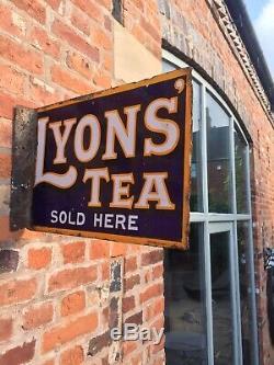 Enamel Sign Lyons Tea Original Old Rare Advertising Antique Collectable Vintage