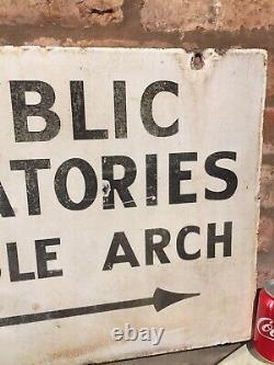 Enamel Sign Original Old Rare Advertising Antique Vintage Public Lavatories D/s