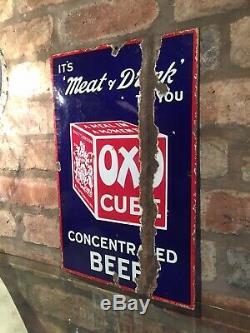 Enamel Sign Oxo Original Rare Old Advertising Antique Collectable Vintage Sign