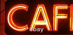 Extremely Rare Neon 1940s Vintage CAFE doublesided hanging sign