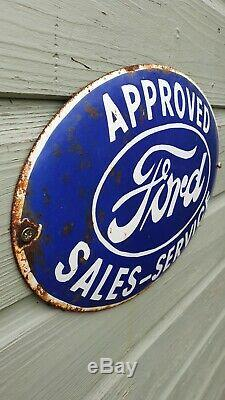 FORD ENAMEL SIGN OVAL American muscle rare vintage collectable
