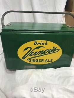 Green Vernor's Ginger Ale Vintage Antique Cooler Handle Rare With A Inside Tray