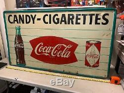 HUGE 55 Rare VINTAGE COCA COLA SIGN 50s 60s COCA COLA FISH TAIL SIGN Can