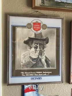 Lone Star Beer Rare SIGN ADVERTISING BREWERY Vintage Liquor License Holder