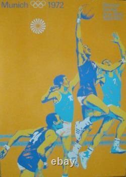 MUNICH 1972 OLYMPICS BASKETBALL A1 23x33.5 poster OTL AICHER art RARE VINTAGE