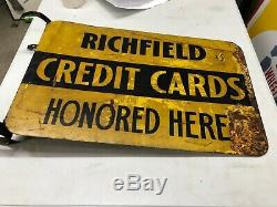 ORIGINAL Vintage RICHFIELD CREDIT CARDS Flange Sign OLD Tire GAS Oil RARE DST
