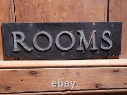 Old Original Rare''rooms'' Embossed Metal Early Hotel Sign Vintage Antique