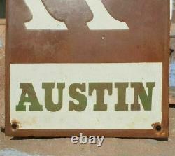 Original 1930's Old Vintage Rare Austin Porcelain Enamel Sign Board Collectible