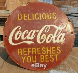 Original 1930's Old Vintage Rare Delicious Coca Cola Porcelain Enamel Sign Board