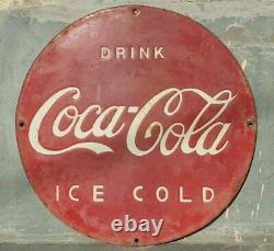 Original 1930's Old Vintage Rare Drink Coca Cola Adv Porcelain Enamel Sign Board