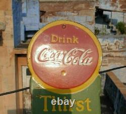 Original 1930's Old Vintage Rare Drink Coca Cola Porcelain Enamel Sign Board