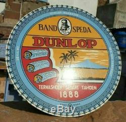 Original 1930's Old Vintage Very Rare Dunlop Porcelain Enamel Sign Board