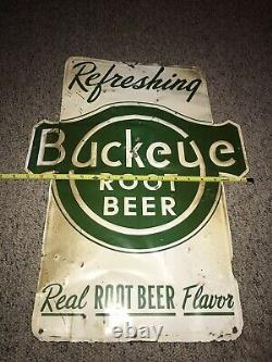 Original BUCKEYE Root Beer Soda Drink Embossed Tin Sign 23 x 17 Vintage RARE