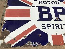 Original Vintage BP Motor Spirit Enamel Sign 6ft X 4ft Rare Union Jack Sign