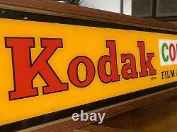 Original Vintage Kodak Film Framed Glass Advertising Shop Sign RARE
