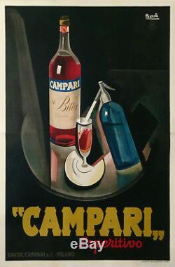 Original Vintage Poster Bitter Campari by Nizzoli 1926 Italian Liquor Black Rare