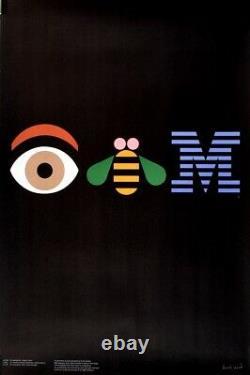 Original Vintage Poster IBM by Paul Rand 1982 Rhebus Graphic Design Rare Tech