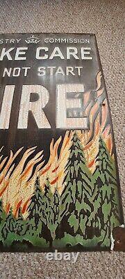 Original Vintage Rare Enamel Sign Forestry Commission Do Not Start Fires