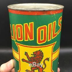 RARE 1930's VINTAGE LION OILS'95' MOTOR OIL IMPERIAL QUART CAN