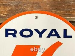 RARE ORIGINAL Vintage UNION ROYAL 76 GASOLINE Porcelain Sign Gas Station Oil OLD
