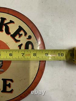 RARE RARE Vintage Metal Round Burke's Ale CAT Beer Sign New York GAS OIL COLA 9