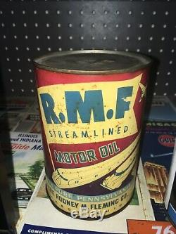 RARE RMF Graphic Motor Oil Can Qt Akron OH Gas Sign Old Vintage Rt 66 Original