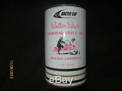 RARE VINTAGE 1960s 1970s ARCTIC CAT PANTHER PURPLE SNOWMOBILE OIL TIN CAN FULL
