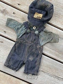 RARE VINTAGE BUDDY LEE DOLL OVERALLS DENIM OUTFIT HAT SHIRT 20s UNION MADE USA