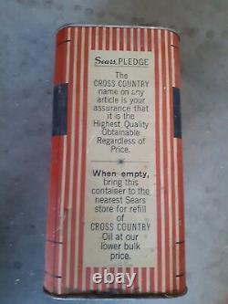 RARE-VINTAGE CROSS COUNTRY MOTOR OIL 2 Gallon (8 QUARTS) Tin Can SEARS
