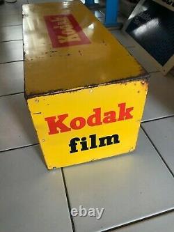 RARE VINTAGE ORIGINAL CAMERA ADVERTISING SIGN KODAK FILM BOX multi side bracket