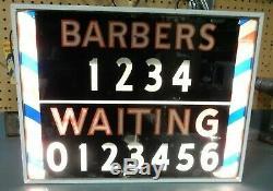 RARE Vintage Barber Shop BARBERS WAITING Light Up Pole Graphics Sign MAN CAVE @@