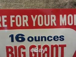 RARE Vintage Big Giant Cola Embossed Sign Antique Beverage Drink 9625