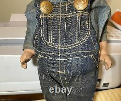 RARE Vintage Buddy Lee Doll Union Made Overalls Jeans Railroad Engineer Boy