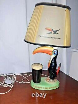 RARE Vintage Guinness Arklow Toucan Lamp. Original Shade. Wkng not tested