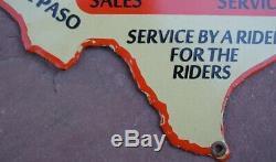 RARE Vintage Motorcycle Dealer Porcelain Sign Rathbun El Paso TEXAS State Shape