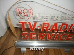 RARE Vintage RCA TUBES TV Radio Lighted Countertop Advertising SIGN