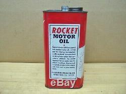 RARE Vintage Rocket Motor Oil 2 Gal Can Metal Advertising Service Gas Station