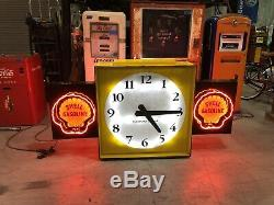 RARE Vintage SHELL Oil Gas Large NEON CLOCK Double Sided Gasoline STORE DISPLAY
