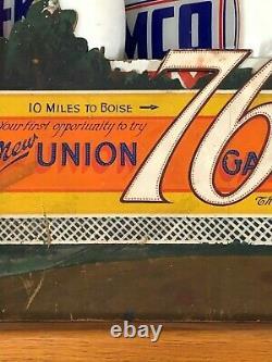 RaRe ORIGINAL Vintage UNION 76 GASOLINE BILLBOARD Sign SALESMAN SAMPLE gas Oil